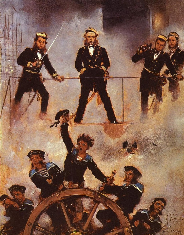 """Anton Romako, """"Admiral Tegetthoff in der Seeschlacht von Lissa, 1878–1880"""""""