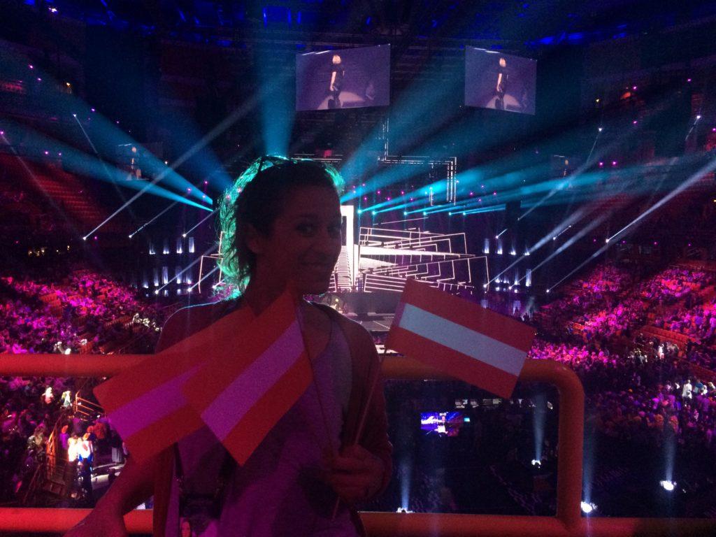 Redakteurin Karoline Milopoulos – für die Kulturzeitung 80 beim Song Contest in Stockholm