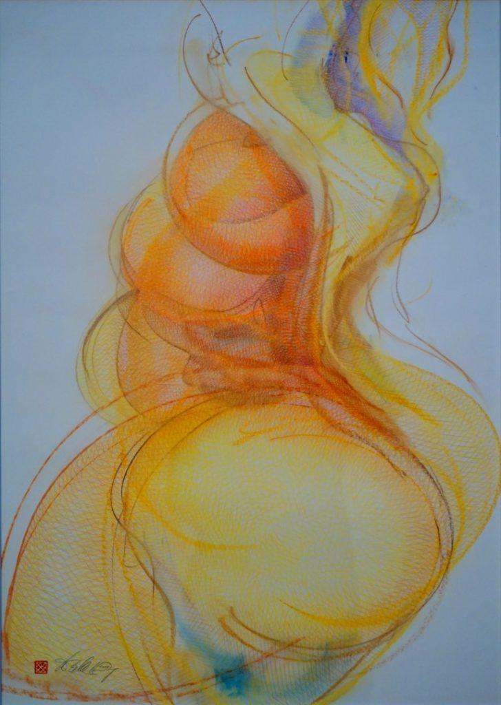 """""""Gelborange"""" von Walter Klug. Zeichnung mit Bundstiften."""