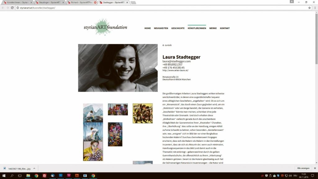 . Neben Werken und detaillierten Beschreibungen der Künstler finden sich auch aktuelle Hinweise auf nationale- und internationale Ausstellungen der ehemaligen Klausurteilnehmer auf www.styrianart.at